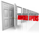 One Door Closes Another Opens words in 3d letters — Stockfoto