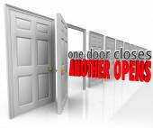 One Door Closes Another Opens words in 3d letters — Stock Photo