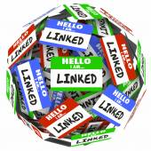 Linked word on nametags or stickers in a ball — Foto de Stock