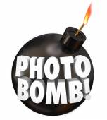 Photobomb words on a black round bomb — Foto de Stock