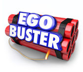 Ego Buster words in 3d letters on dynamite sticks — Stock Photo
