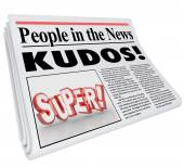People in the News words and Kudos headline — Stock Photo