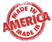 Made in America words in a round red stamp — Foto de Stock