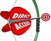Direct Access words on a bow and arrow — Stock Photo