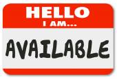 Hello I Am Available words on a name tag sticker — Stock Photo