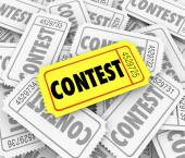 Contest word on tickets in a pile — Stock Photo