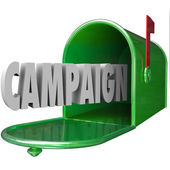 Campaign 3d word in a green metal mailbox — Stock Photo