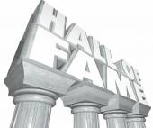 Hall of Fame words in 3d letters on stone or marble columns — Stock Photo