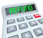 Refund word in digital green letters on a calculator display — Stock Photo