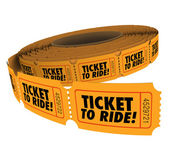 Ticket to Ride words on a roll of orange paper tickets — Foto de Stock