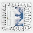 Words in 3d letters around an open door to a blue sky — Stockfoto #62835459