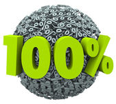 100 percent number and symbol on a ball of percentage signs — Stock Photo