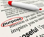 Purpose word definition circled on a dictionary page — Stock Photo