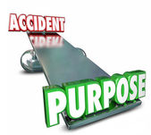 Purpose and Accident opposite words on a balance — Stock Photo