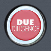 Due Diligence words on a red car start button — Stock Photo