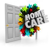 Home Care words in an open door — Stock Photo