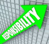 Responsibility word on a green arrow — Stock Photo