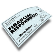 Financial Responsibility words on a check — Stock Photo