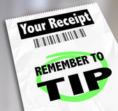 Remember to Tip words on a paper receipt — Stockfoto