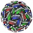 Credit cards in a sphere with the word Accepted — Stock Photo #63848405