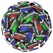 Credit cards in a sphere with the word Accepted — Stock Photo