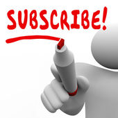 Subscribe word written by a man with red marker — Stock Photo