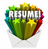 Resume 3d word and stars bursting out an envelope — Stock Photo