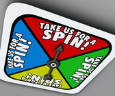 Take Us for a Spin words on a game board spinner — Stock Photo