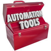 Automation Tools in red metal toolbox — Stock Photo