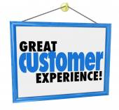 Great Customer Experience words on a hanging sign — Stock Photo