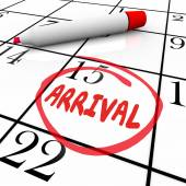 Arrival word written and circled on calendar — Stock Photo