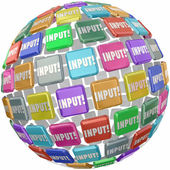 Input word on tiles in a globe — Stock Photo