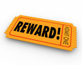 Reward word on a raffle or contest ticket — Stock Photo