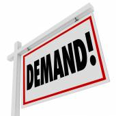 Demand word on a real estate house for sale sign — Stock Photo