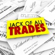 Jack of All Trades words on business cards — Foto de Stock   #65014953
