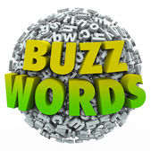 Buzzwords 3d words on a ball — Stock Photo