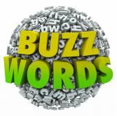 Buzzwords 3d kelime üstünde bir top — Stok fotoğraf