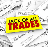 Jack of All Trades words on business cards — Stock Photo