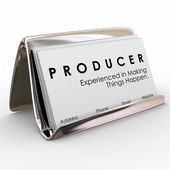 Producer experienced in making things happen words on business card — Stock fotografie