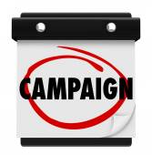 Campaign word on a calendar circled — Stock Photo
