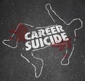Career Suicide words on a chalk outline — Stock Photo
