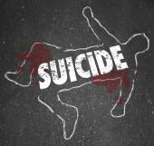 Suicide word written on a chalk outline — Stock Photo