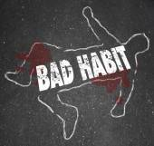 Bad Habit words in a chalk outline — Stok fotoğraf