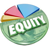 Equity word on a pie chart — Stock Photo