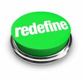 Redefine word on a green button — Stock Photo