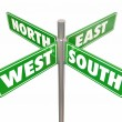 Four green road or street signs marked North, South, East and West — Stock Photo #65404235