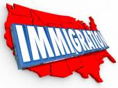 Immigration 3d word on red map of United States of America — Stock Photo