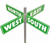 Four green road or street signs marked North, South, East and West — Stock Photo