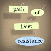 Path of Least Resistance words pinned to a bulletin board — Stock Photo