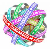 Standardize word on colored ribbons in a ball — Stock Photo